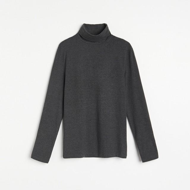 Reserved - Bawełniana bluzka z golfem - Szary