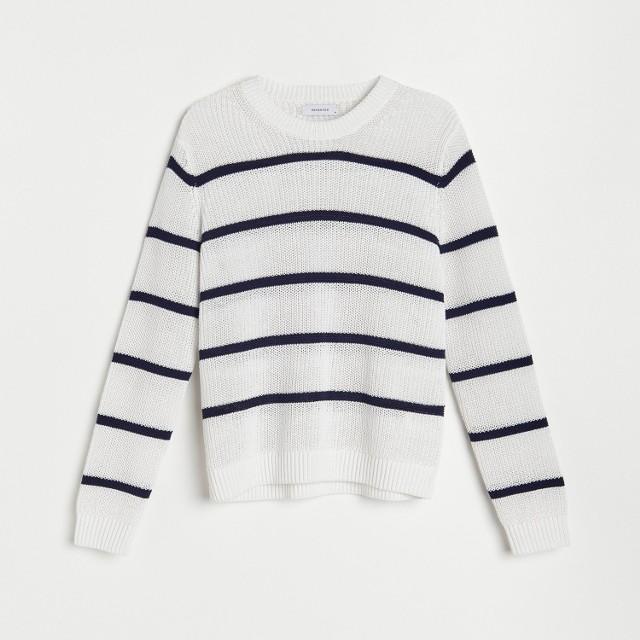 Reserved - Sweter o strukturalnym splocie - Biały