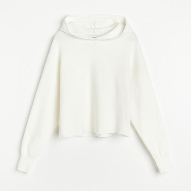 Reserved - Dzianinowa bluza z kapturem - Kremowy