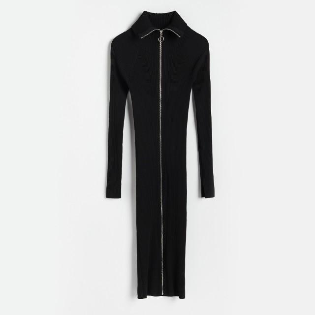 Reserved - Dzianinowa sukienka z suwakiem - Czarny