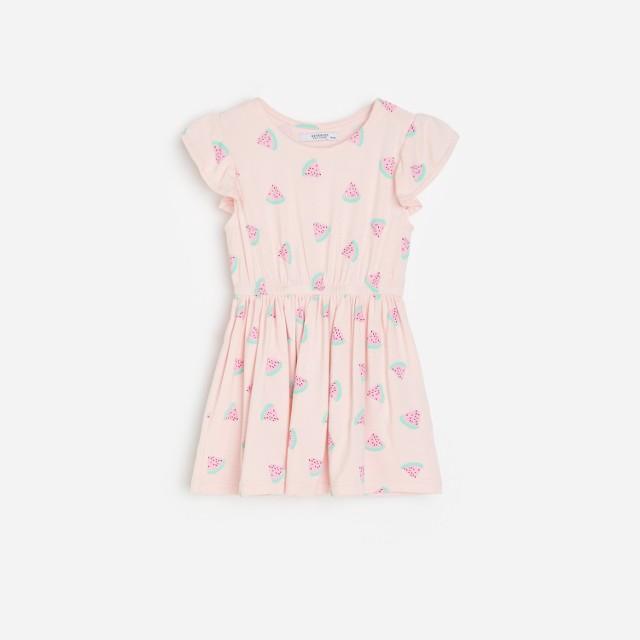 Reserved - Wiskozowa sukienka w owocki - Różowy