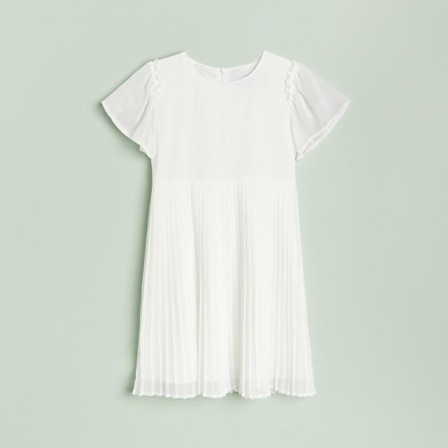 Reserved - Sukienka z plisowanym dołem - Kremowy