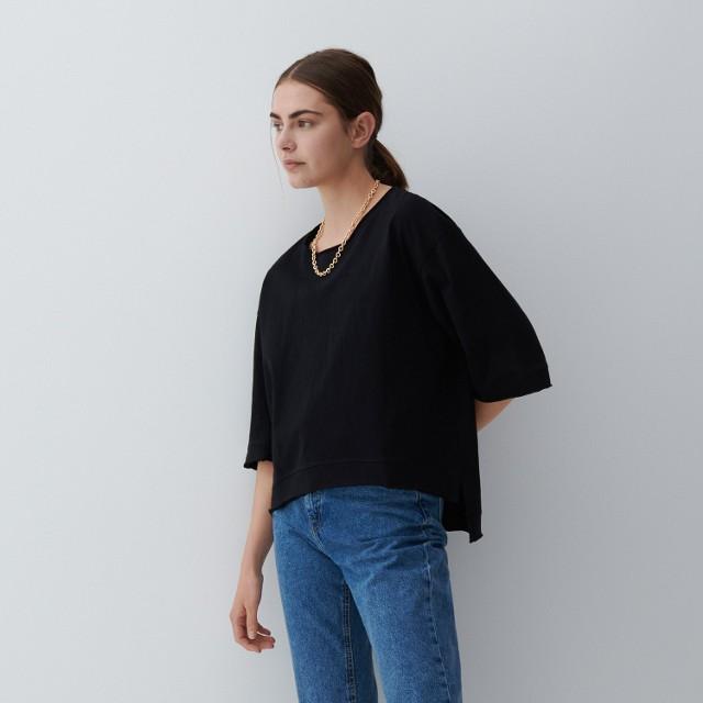 Reserved - Bawełniana bluzka - Czarny