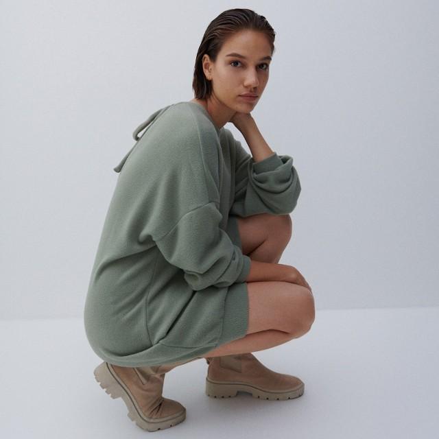 Reserved - Dzianinowa sukienka - Khaki