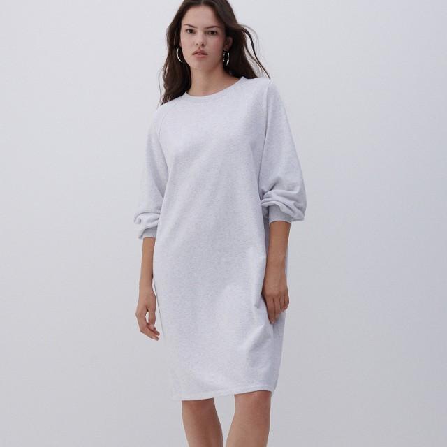 Reserved - Sukienka z dresowej dzianiny - Jasny szary