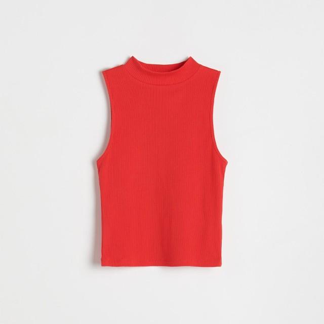 Reserved - Top z prążkowanej dzianiny - Czerwony