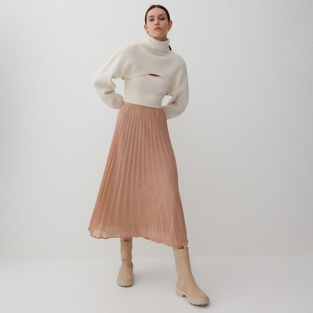 Reserved - Plisowana spódnica midi - Beżowy