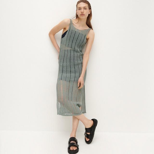 Reserved - Sukienka o ażurowym splocie - Turkusowy
