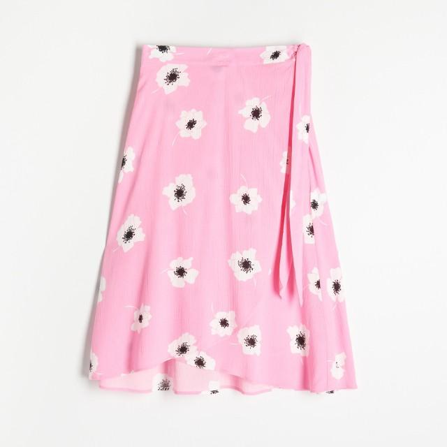 Reserved - Kopertowa spódnica w kwiaty - Różowy