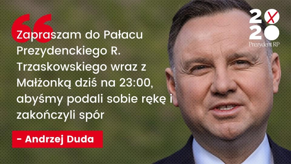Andrzej Duda zaprosił Rafała Trzaskowskiego do Pałacu Prezydenckiego