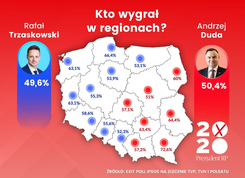 Jak głosowały regiony? Mapa podziału - grafika