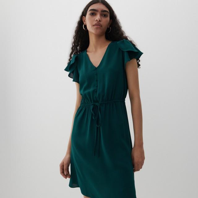 Reserved - Sukienka z falbanami na ramionach - Turkusowy