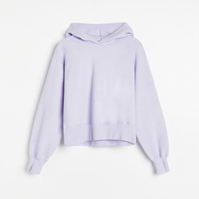 Reserved - Gładka dzianinowa bluza - Fioletowy