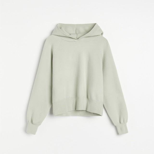 Reserved - Gładka dzianinowa bluza - Zielony