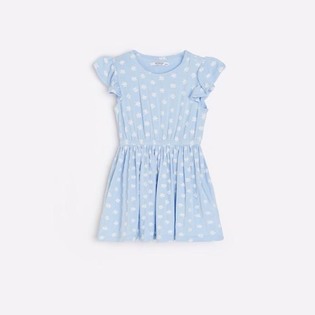 Reserved - Wiskozowa sukienka w kwiaty - Niebieski