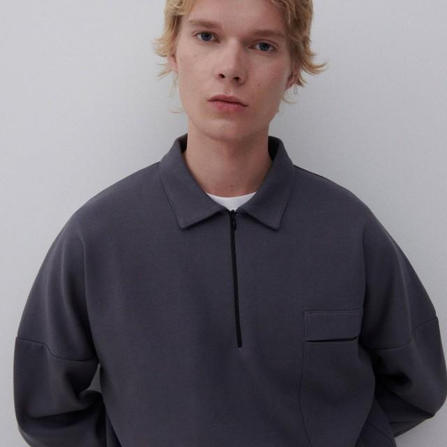 Reserved - Bluza z kołnierzem - Szary