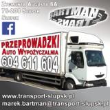 Logo firmy Przeprowadzki meblowozem z windą lub mniejszymi, Transport, Bagażówki, Wypożyczalnia samochodów.