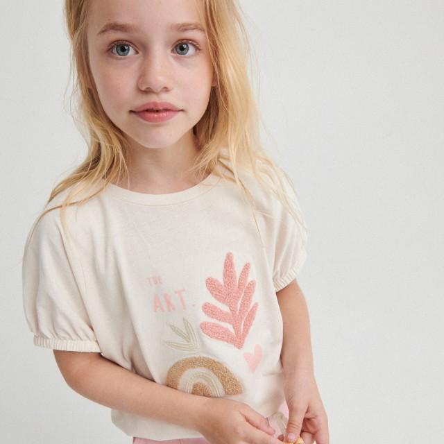 Reserved - Bawełniany t-shirt z aplikacją - Kremowy
